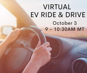 Person driving car, showing steering wheel with text describing Virtual EV Ride & Drive